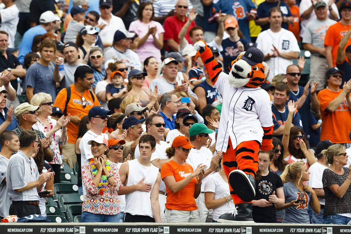 June 17, 2012; Detroit, MI, USA; Detroit Tigers mascot Paws entertains the crowd during the seventh inning stretch during the game against the Colorado Rockies at Comerica Park. Mandatory Credit: Rick Osentoski-US PRESSWIRE