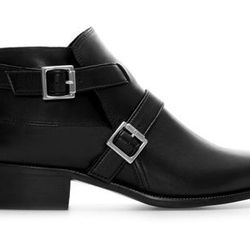 """<strong>Zara</strong> Leather Ankle Boot with Buckles, <a href=""""http://www.zara.com/us/en/woman/shoes/ankle-boots/leather-ankle-boot-with-buckles-c288001p1458042.html"""">$99</a>"""