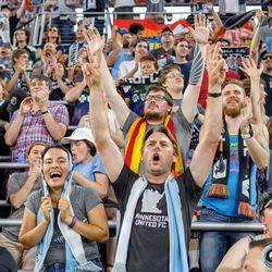July 13, 2019 - Saint Paul, Minnesota, United States - The Wonderwall celebrate as Minnesota United defeats FC Dallas 1-0 at Allianz Field.