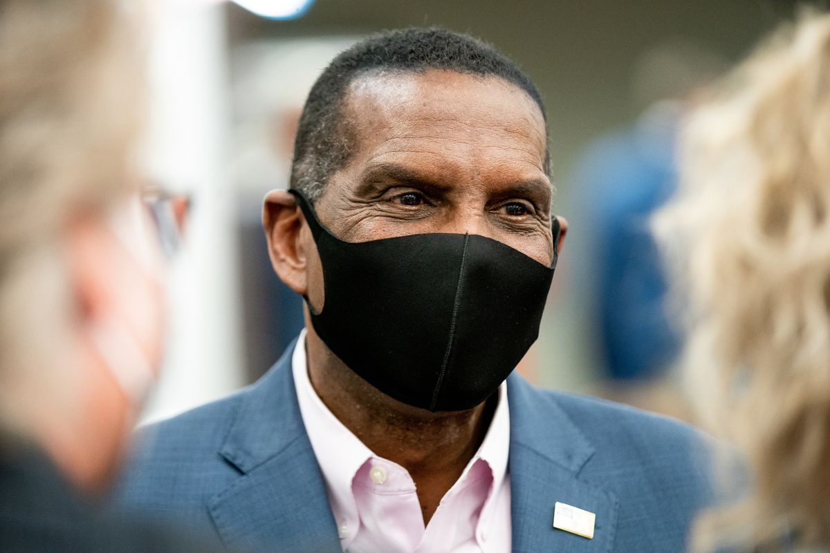 Burgess Owens, Republican candidate for Utah's 4th Congressional District, chats with people at an election night event for Republican candidates in at the Utah Association of Realtors building in Sandy on Tuesday, Nov. 3, 2020.