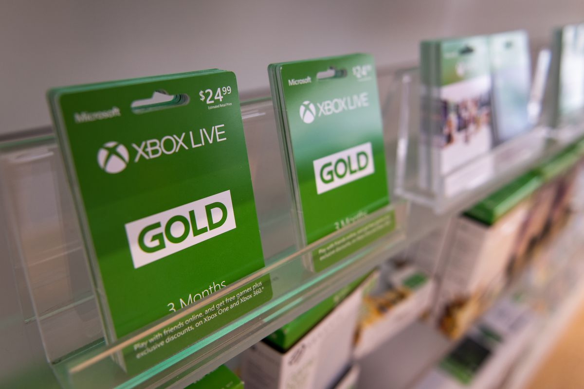 Xbox Live Gold subscription cards on a store shelf