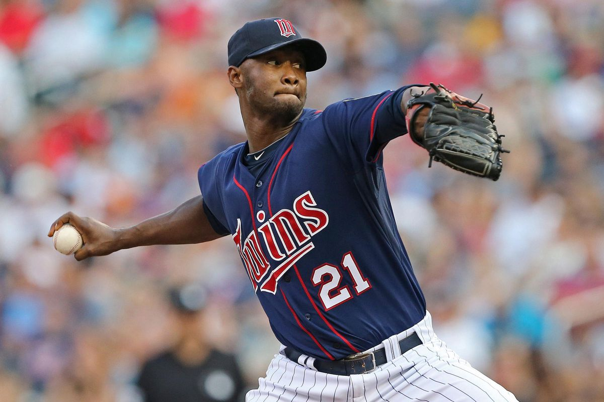 July 17, 2012; Minneapolis, MN, USA: Minnesota Twins starting pitcher Samuel Deduno (21) delivers a pitch in the first inning against the Baltimore Orioles at Target Field. Mandatory Credit: Jesse Johnson-US PRESSWIRE