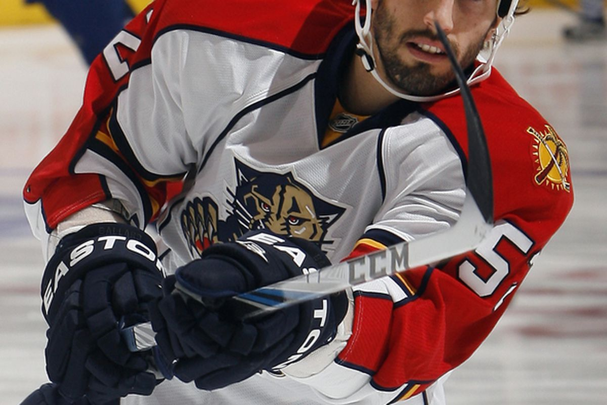 TORONTO - OCTOBER 26: Jason Garrison #52 of the Florida Panthers shoots during warmup before game action at the Air Canada Centre October 26 2010 in Toronto Ontario Canada. (Photo by Abelimages/Getty Images)