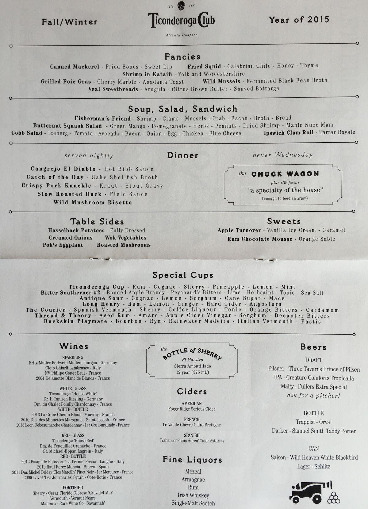 Ticonderoga Club menu