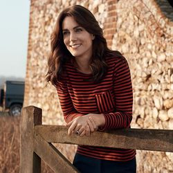 Here, Kate wears a striped t-shirt by Petite Bateau and Burberry stretch boot-cut trousers.