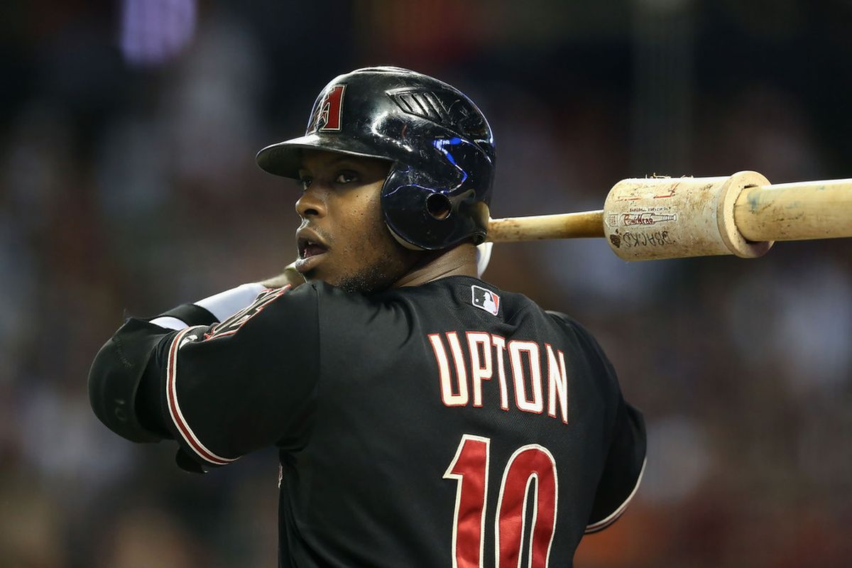 Justin Upton of the Arizona Diamondbacks could ultimately become the hottest name on the trade block.  (Photo by Christian Petersen/Getty Images)