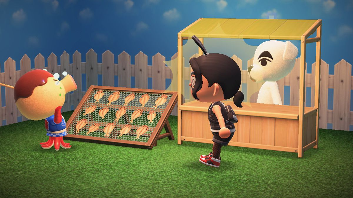 K.K. Slider stands behind a merchant booth as an octopus villager cries about the sale of dried fish