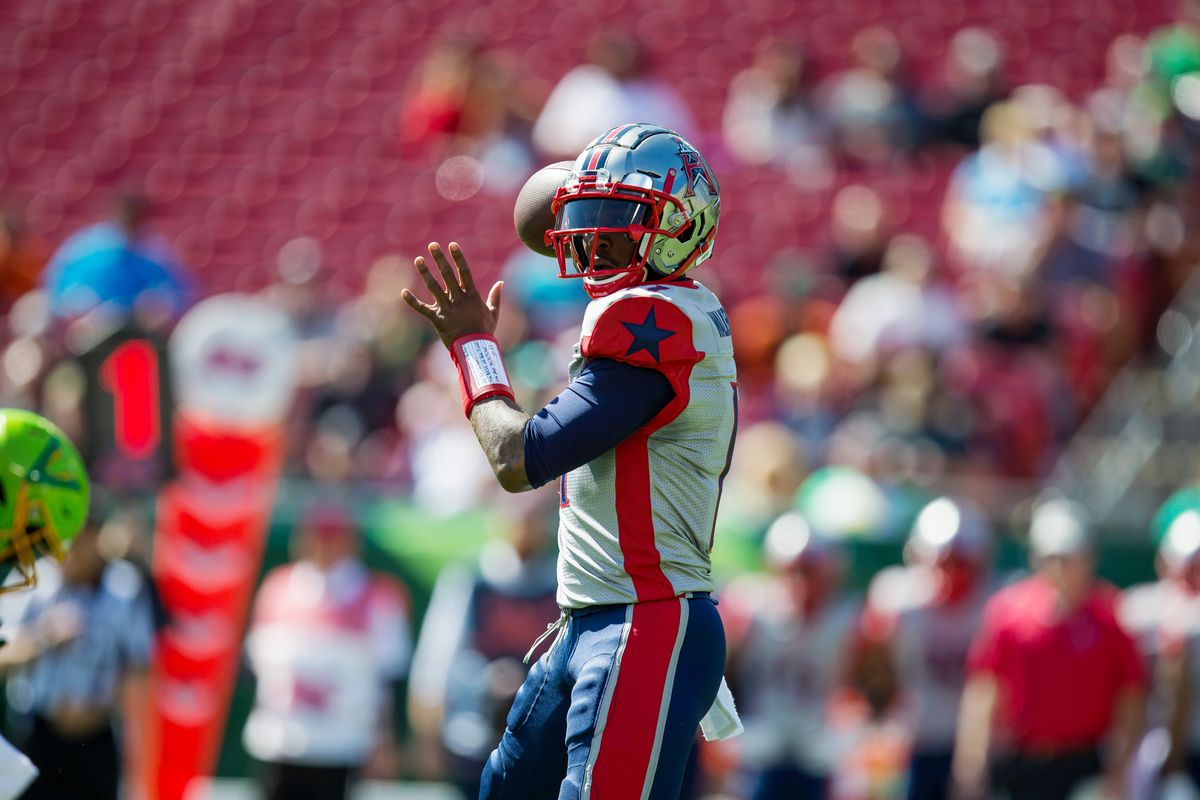 Houston Roughnecks quarterback P.J. Walker prepares to pass during an XFL game between the Houston Roughnecks and the Tampa Bay Vipers at Raymond James Stadium.