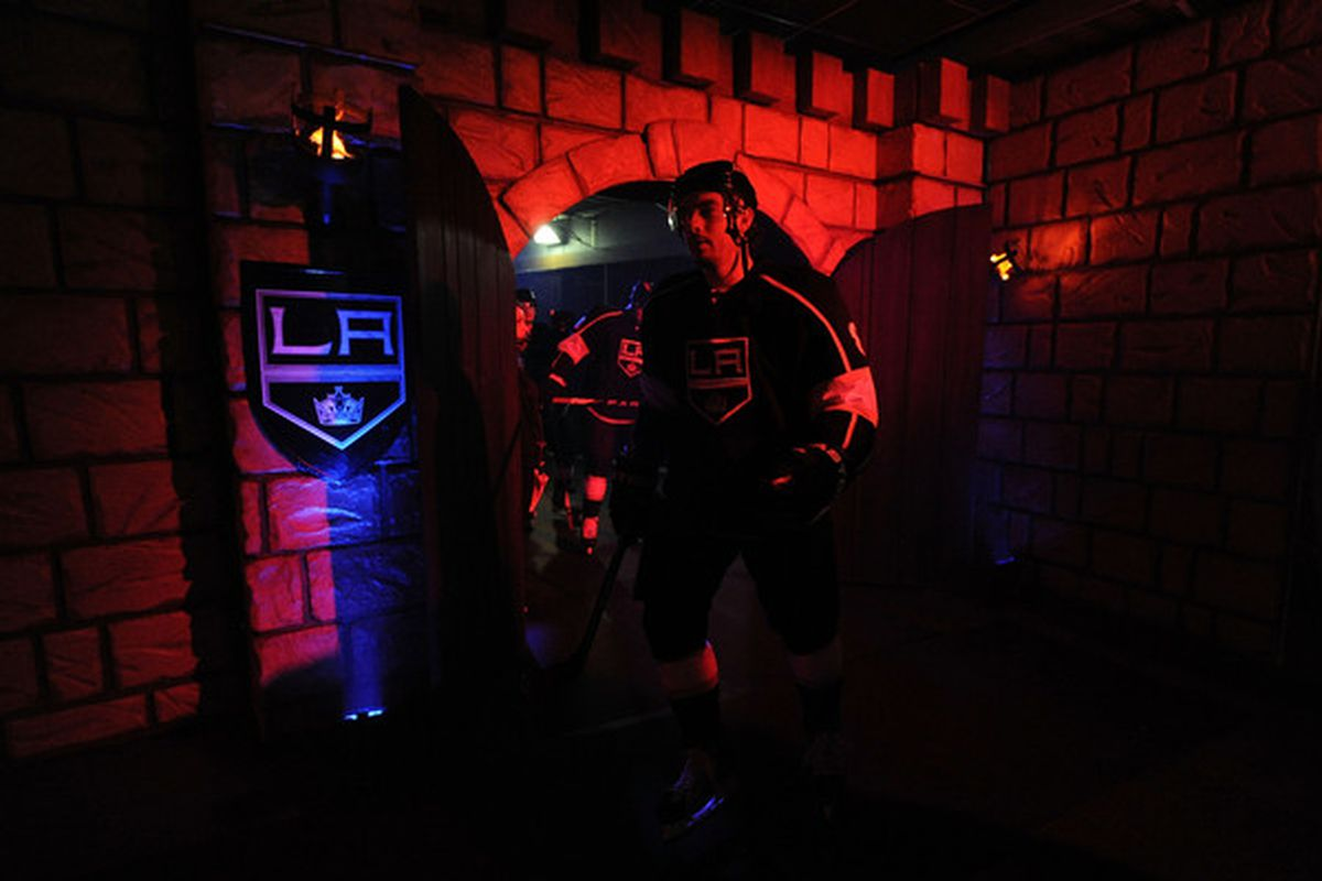 LOS ANGELES, CA - OCTOBER 12:  Drew Doughty #8 of the Los Angeles Kings walks to the ice prior to the game against the Atlanta Thrashers at Staples Center on October 12, 2010 in Los Angeles, California.  (Photo by Harry How/Getty Images)