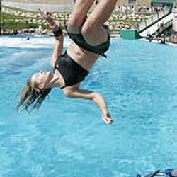 Caroline Gleich, Salt Lake City, works on the mini-trampoline at Air School. Public jumping will continue through Oct. 9.