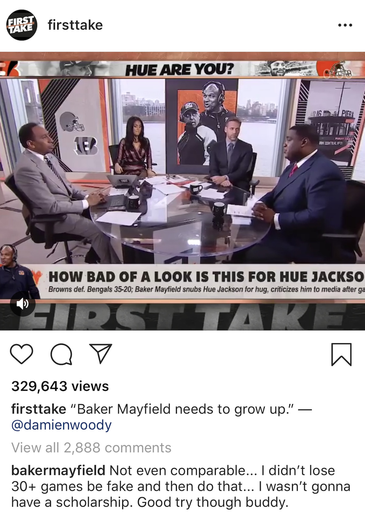 """Baker Mayfield commenting on an Instagram post disputing a Damien Woody claim that he """"needs to grow up"""" by saying """"Not even comparable... I didn't lose 30+ games be fake and then do that... I wasn't gonna have a scholarship. Good try though buddy."""""""