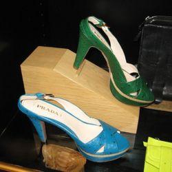 Prada 100mm ostrich slingback sandals, $1,350