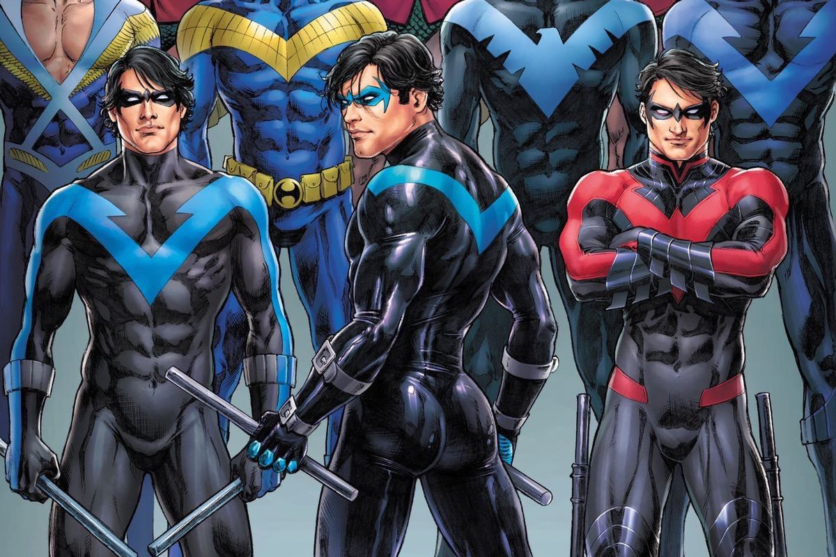 Art of Nightwing through his various costumes and eras. In most cases he is posed facing the camera, except for center front, where he has his back to the viewer, looking over his shoulder. His rear is lovingly rendered.