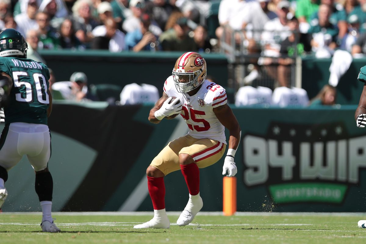 Elijah Mitchell #25 of the San Francisco 49ers rushes during the game against the Philadelphia Eagles at Lincoln Financial Field on September 19, 2021 in Philadelphia, Pennsylvania. The 49ers defeated the Eagles 17-11.