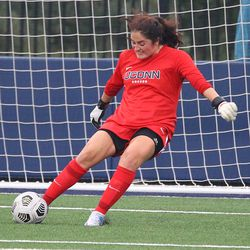 UConn's Kaitlyn Mahoney #1 during the UMass Minutewomen vs the UConn Huskies at Morrone Stadium at Rizza Performance Center in an exhibition women's college soccer game in Storrs, CT, Monday, August 9, 2021.