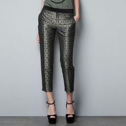 "<b>Zara</b> Jacquard Capri Pants in black, <a href=""http://www.jcrew.com/womens_category/pants/cafecapri/PRDOVR~98281/98281.jsp"">$79.90</a>"