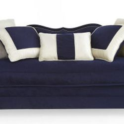 """""""I love the look of a statement sofa and <a href=""""http://www.neimanmarcus.com/Haute-House-Horton-Navy-Velvet-Sofa-Haute-House/prod150300193_cat20750733__/p.prod"""">this</a> dreamy blue one by Hollywood-based company Haute House makes my heart sing. My futur"""