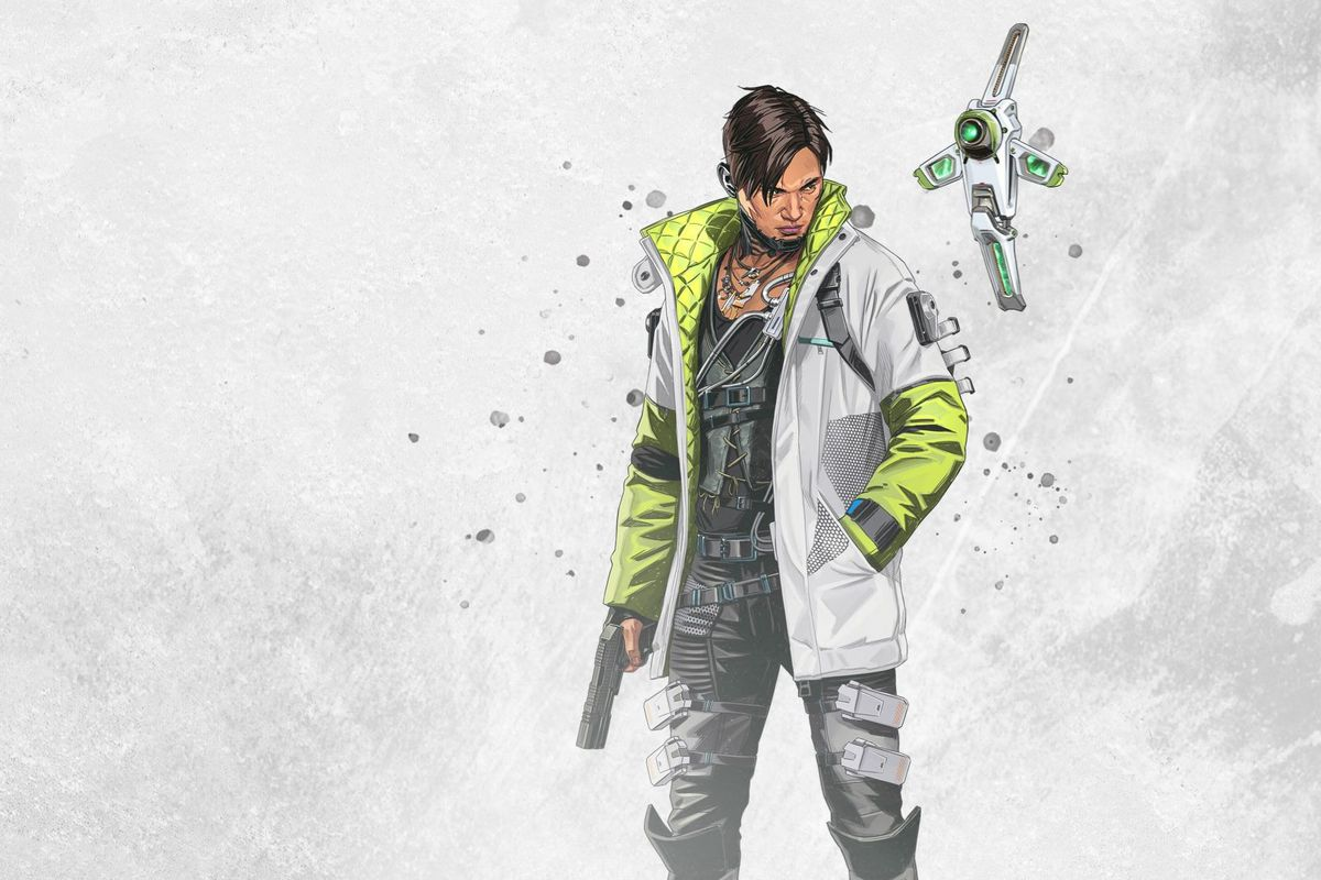 Apex Legends' season 3 character Crypto, a cyborg hacker with a gun and a drone.