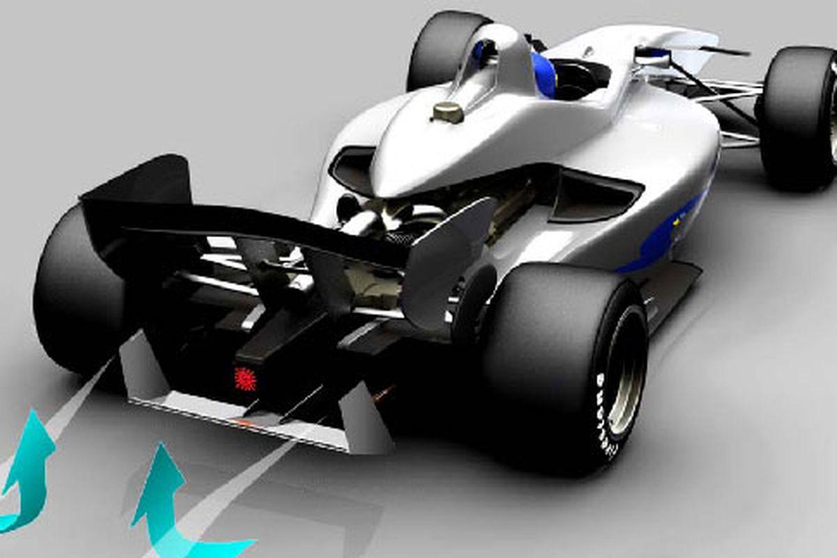 """Swift """"mushroom buster"""" concept, designed to address the aerodynamic wake issues that make passing in IndyCars difficult (Photo: Swift Engineering, Inc.)"""