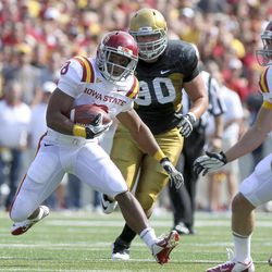 Iowa State running back James White looks for an opening during the first half agianst Iowa in an NCAA college football game Saturday, Sept. 8, 2012, in Iowa City, Iowa.