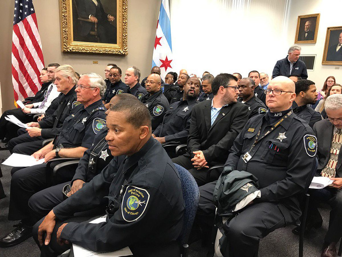 Aviation officers packed a City Council committee meeting on Monday. | Fran Spielman/Sun-Times