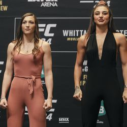 Montana De La Rosa and Nadia Kassem pose at UFC 234 media day.