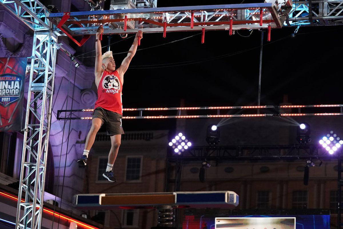 "Kai Beckstrand, 15, competes during the semifinal round of ""American Ninja Warrior."""