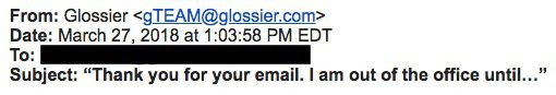 """A subject line that reads, """"Thank you for your email. I am out of office until..."""""""