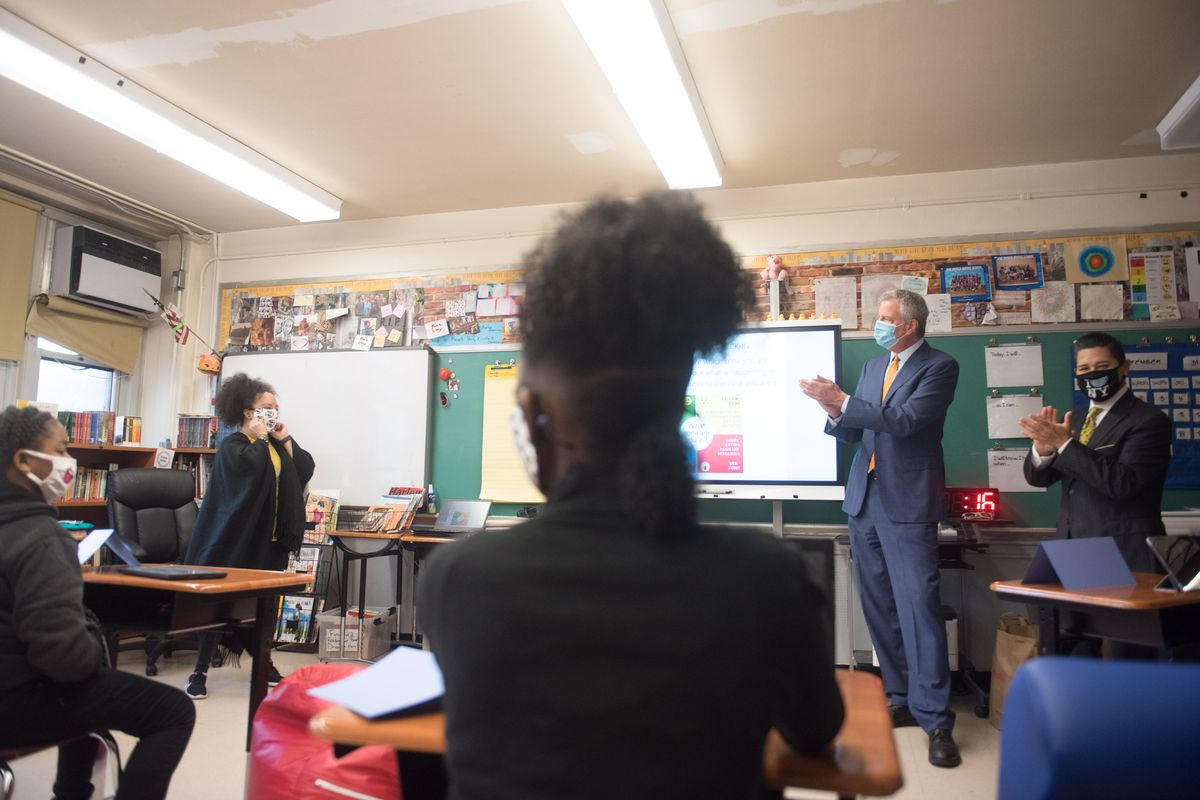 Mayor Bill de Blasio, Schools Chancellor Richard Carranza and Health Commissioner Dave Chokshi join school leadership at One World Middle School at Edenwald in The Bronx, October 1, 2020.
