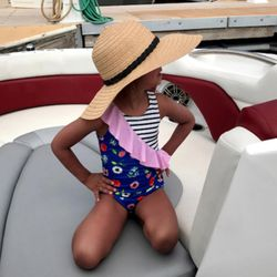 LaLa Swimwear sells both one-piece and two-piece suits for girls ages 2-13.