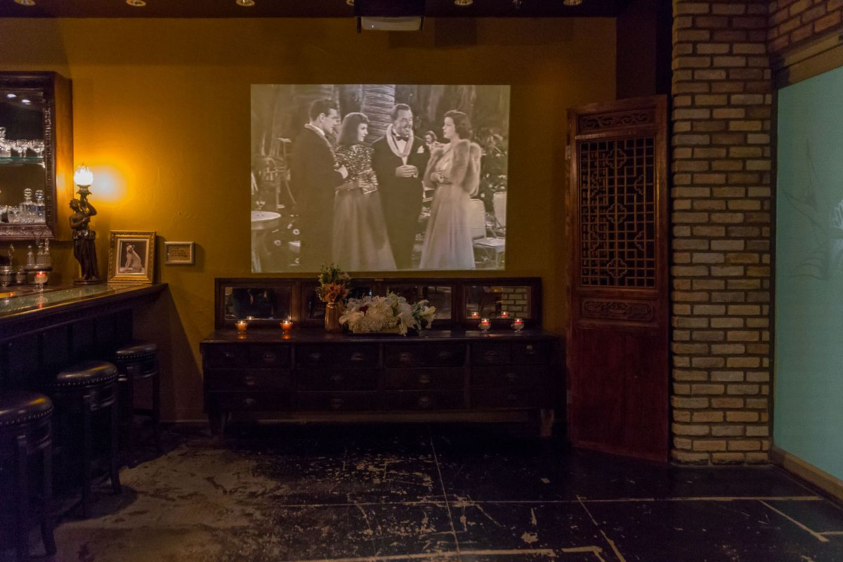 Old movies play in the lounge area at Old Soul