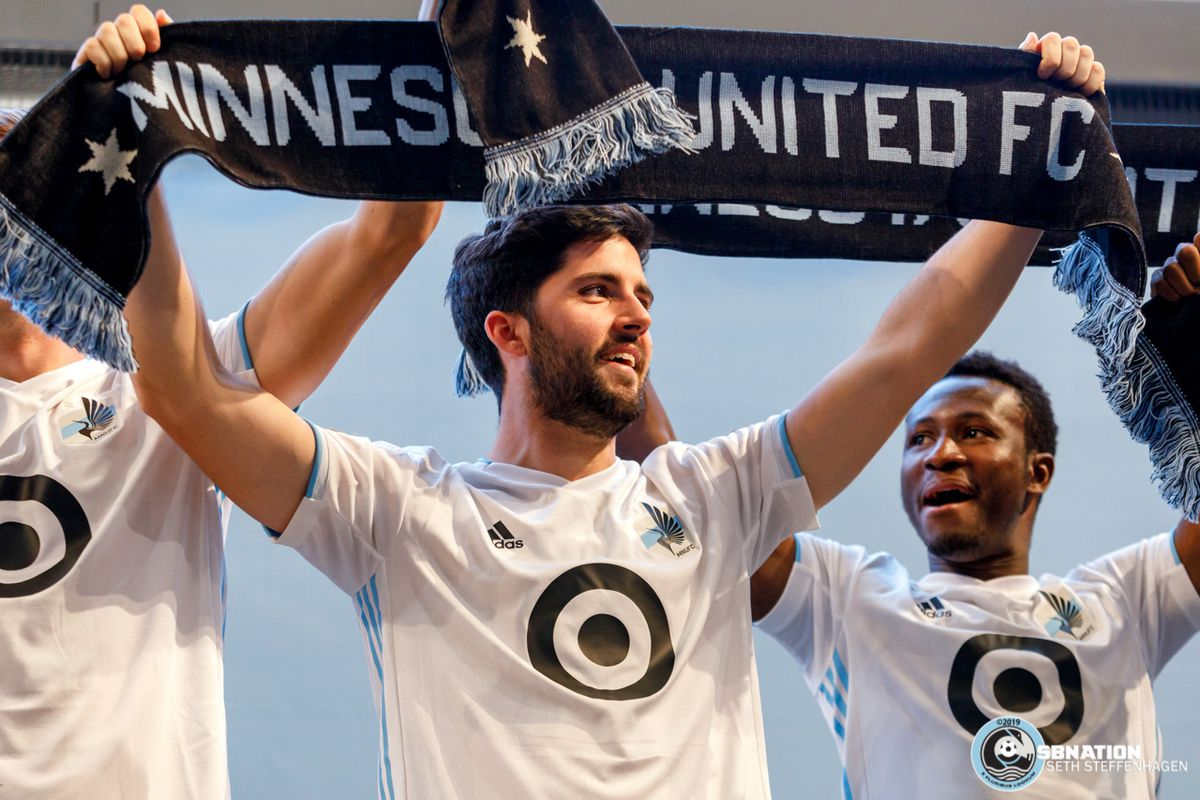 February 10, 2019 - Bloomington, Minnesota, United States - Minnesota United players  Eric Miller and Abu Danladi display the club's new look at the 2019 kit reveal at the Mall Of America.   (Photo by Seth Steffenhagen/Steffenhagen Photography)