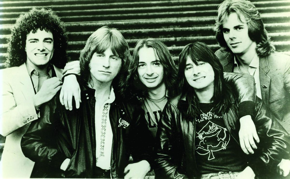 Jonathan Cain (right) with singer Steve Perry (second from right) and the rest of Journey in 1981.   Pat Johnson