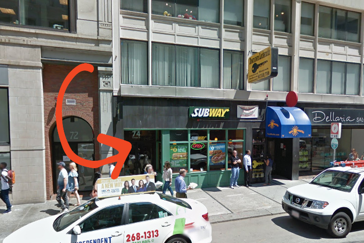 A street view shows a former Subway storefront that will soon be home to a Taco Bell