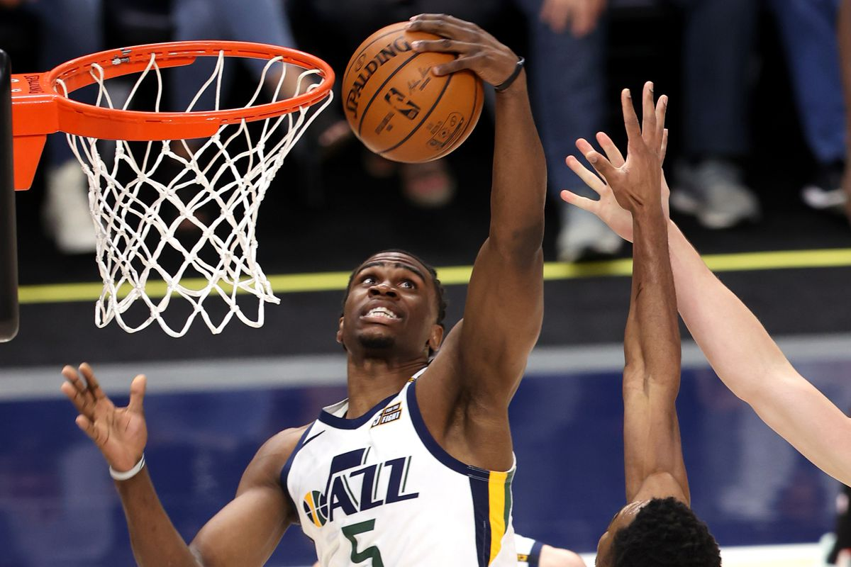 Utah Jazz forward Jarrell Brantley snags a rebound against the Spurs at Vivint Arena in Salt Lake City on May 5, 2021.