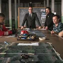 """Jamie Foxx, Kevin Spacey, director Edgar Wright, Flea Balzary and Lanny Joon on the set of """"Baby Driver."""""""
