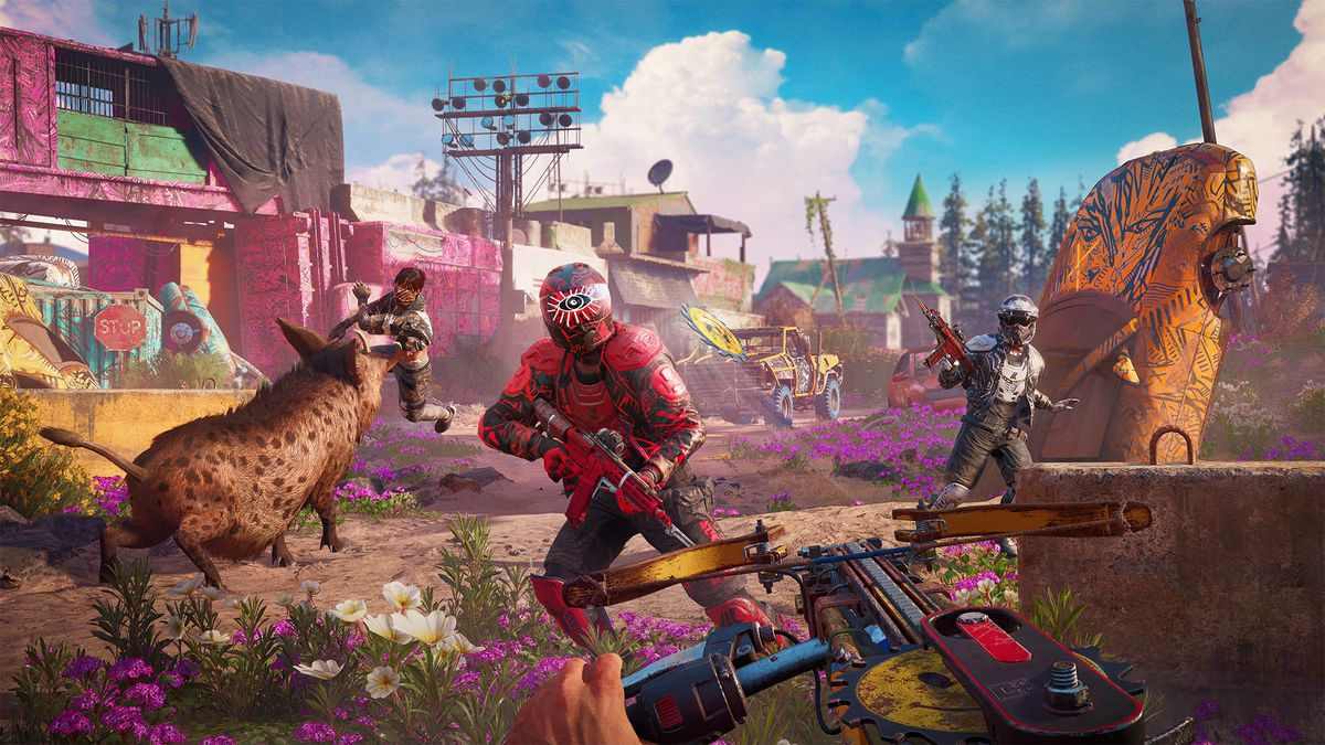 An enemy in bright red armor attacks the player in Far Cry New Dawn