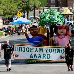 The Latter-day Saint Bountiful Utah East Stake's float makes its way along the Days of '47 Parade route in Salt Lake City on Friday, July 23, 2021. The float won the Brigham Young Award.