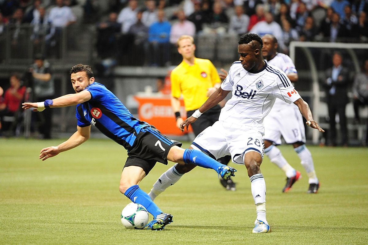 Gershon Koffie challenges for the ball versus the Montreal Impact