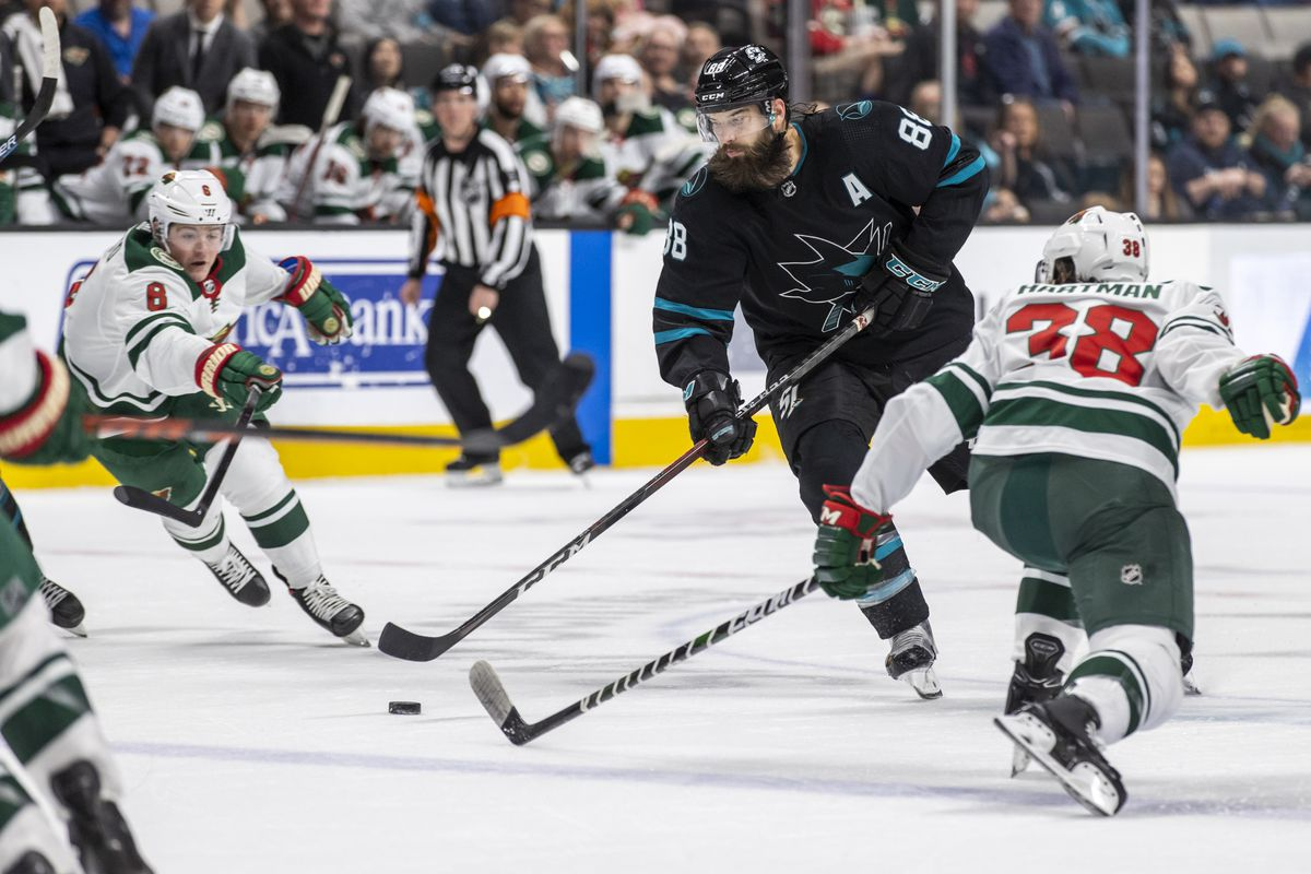 San Jose Sharks Defenseman Brent Burns (88) controls the puck during the NHL hockey game between the Minnesota Wild and San Jose Sharks on March 5, 2020 at the SAP Pavilion in San Jose, CA.