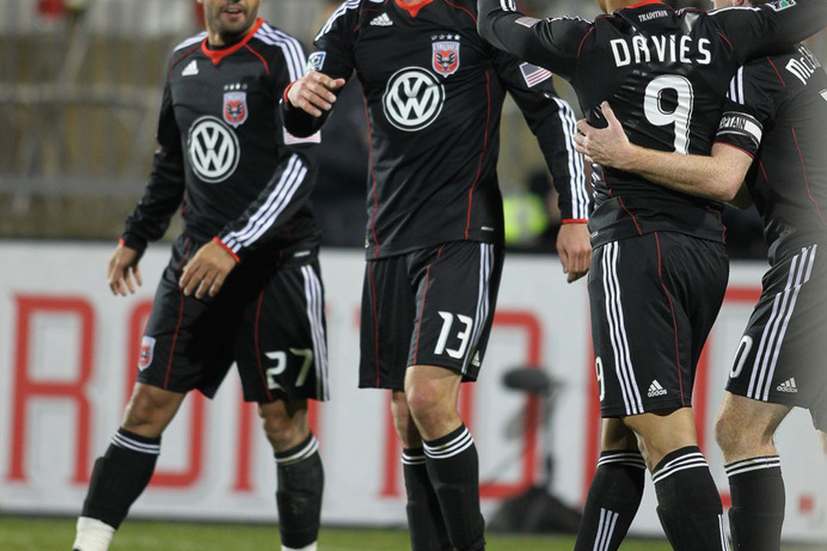 TORONTO, CANADA - APRIL 16:  Chris Pontius #13 of the D.C. United celebrates his second goal of the game against Toronto FC on April 16, 2011 at BMO Field in Toronto, Canada. D.C. United defeated Toronto FC 3-0. (Photo by Claus Andersen/Getty Images)