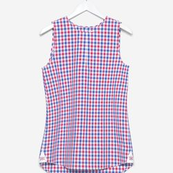 """The sleeveless in red and blue gingham, <a href=""""http://doubler.com/collections/sleeveless/products/sleeveless-red-and-blue-gingham"""">$175</a>"""