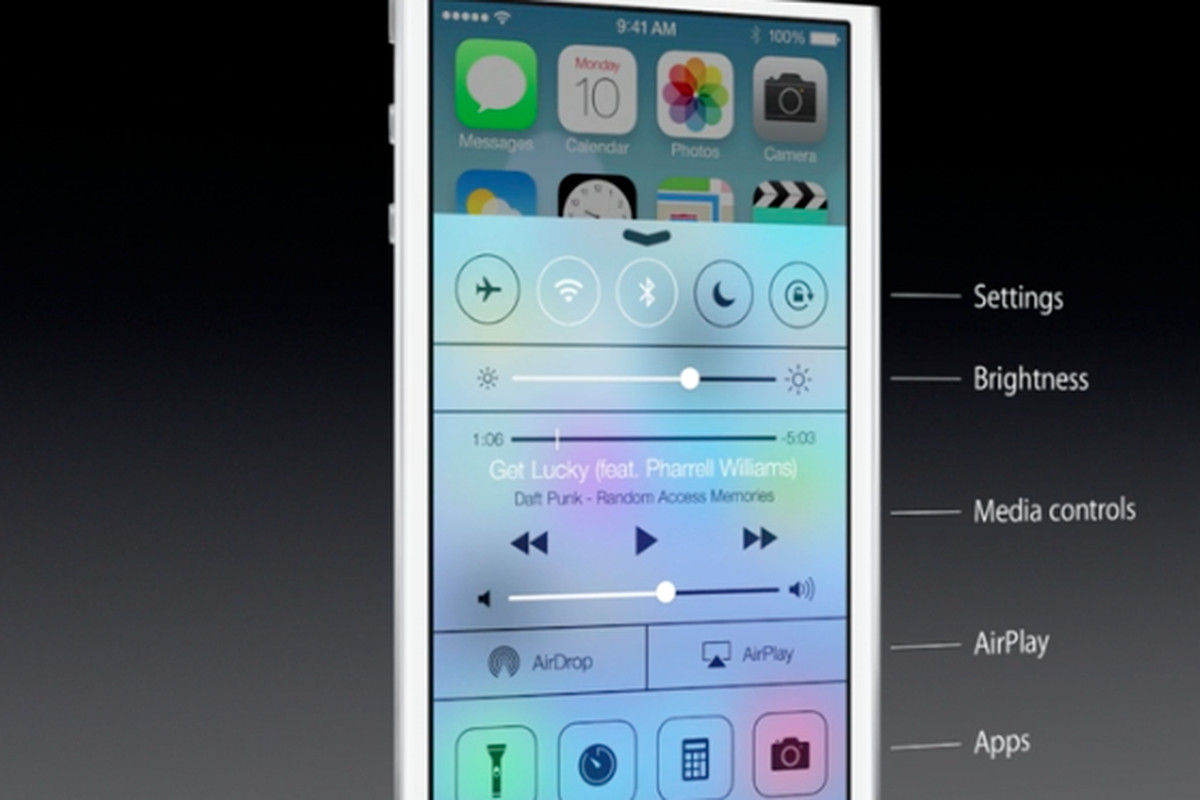 iOS 7 Control Center allows quick toggling of Wi-Fi