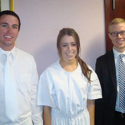 Audrey Denison, center, was baptized after being reunited with the missionaries who originally taught her. One of those missionaries was Elder Chance Johnson, left.