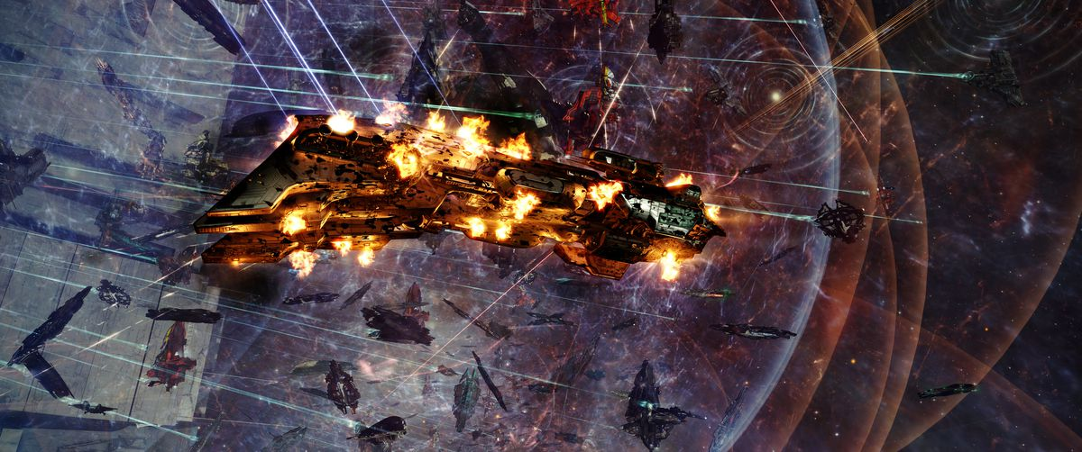 A long ship with multiple detonations across multiple decks breaks up in front of the keepstar.