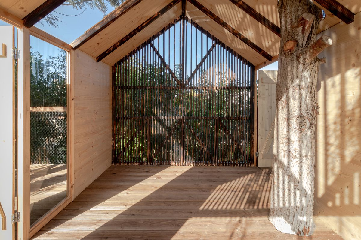 The inside of a wooden treehouse with glass walls and wooden slats casting shadows on all surfaces.