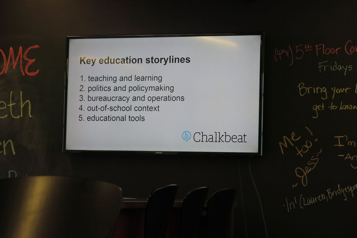 This is one of several slides presented by Chalkbeat TN co-founder Elizabeth Green during Monday night's forum about building better teachers in Memphis.