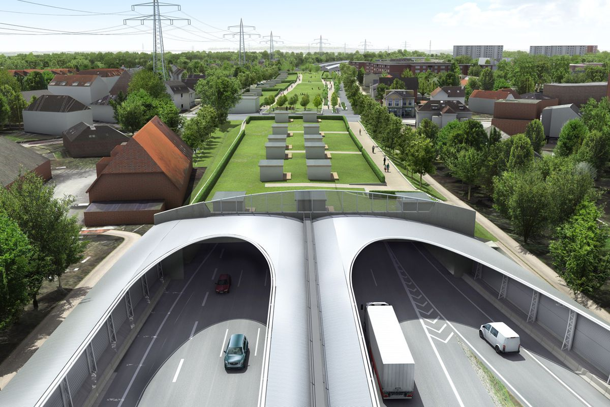 A rendering of Hamburg's highway burial project.