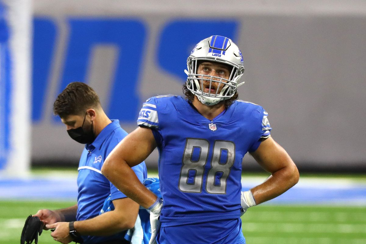 T.J. Hockenson #88 of the Detroit Lions looks on during the second half against the Green Bay Packers at Ford Field on December 13, 2020 in Detroit, Michigan.
