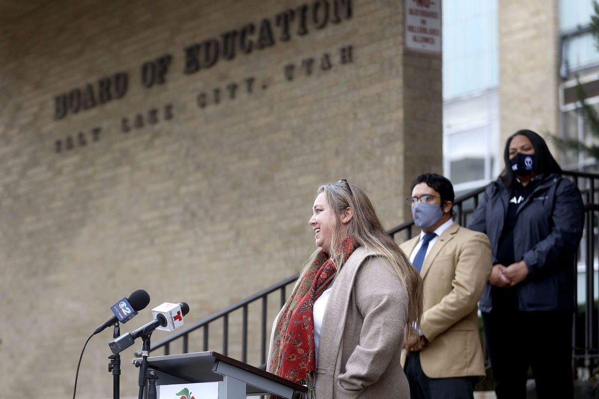 Salt Lake City School District Board of Education President Melissa Ford speaks about new superintendent finalists at a press conference outside the Salt Lake City School District office building in Salt Lake City on Wednesday, Feb. 10, 2021.